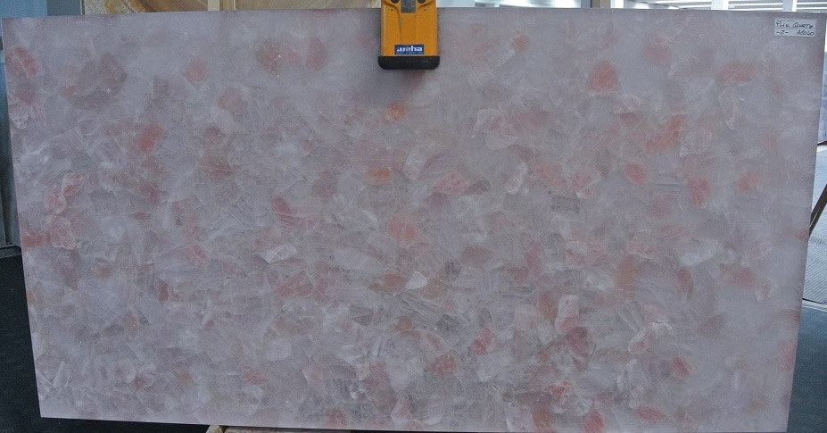 Pink Quartz Dark Semi Precious Stone Slab